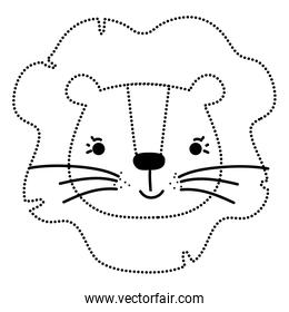 dotted shape cute lion head wild animal