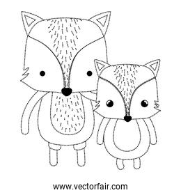 dotted shape cute fox father and his child wild animal