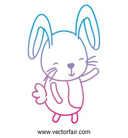 degraded line happy rabbit cute animal with tail