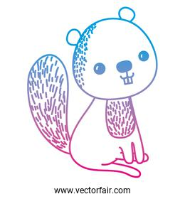 degraded line happy beaver seated animal with tail