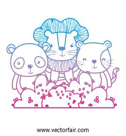 degraded line cute friends animals with bush plant