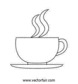 dotted shape hot coffee cup fresh beverage