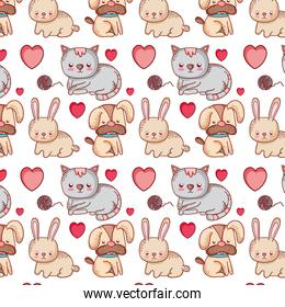 dog and cat with rabbit animals background