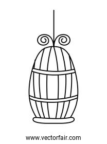 line metal bird cage object design