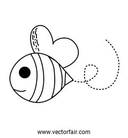 line bee cute insect animal flying