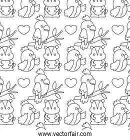 dotted shape parrots and beaver animals with heart background