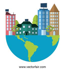 global earth planet with buildings and house