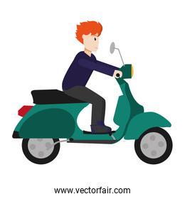 man with haistyle and clothes ride motorcycle