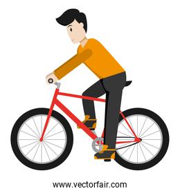 man with hairstyle and clothes ride bicycle