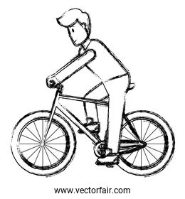 grunge man with hairstyle and clothes ride bicycle