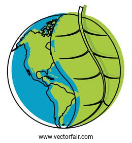 moved color global earth planet with leaf to ecology care