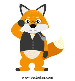 character fox animal with vest and pipe