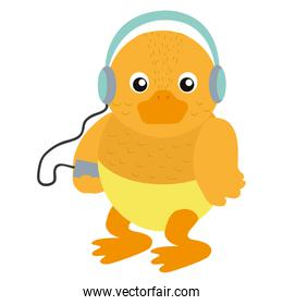 baby duck animal with mp3 headphones and diaper