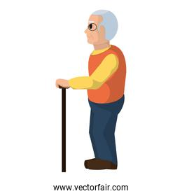 old man on side with glasses and walking stick