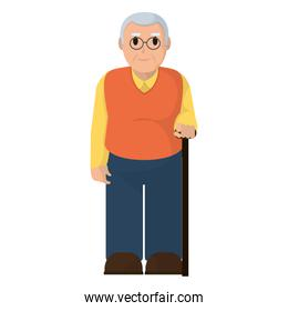 old man with glasses and walking stick
