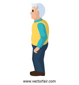 old man on side with mustache and clothes