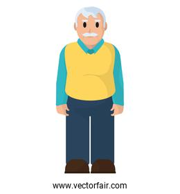 old man with mustache and casual clothes