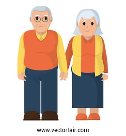 old couple together with clothes and hairstyle