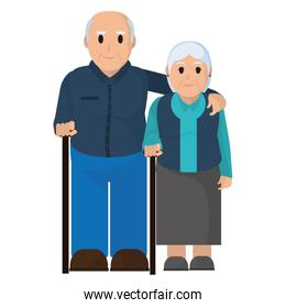 elderly couple together with walking stick