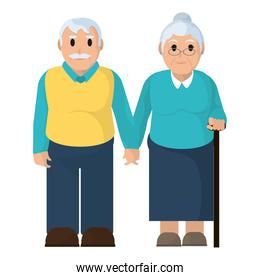 old couple together with casual clothes