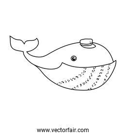 line character whale cute animal with hat