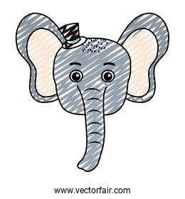 doodle baby elephant head animal with hat