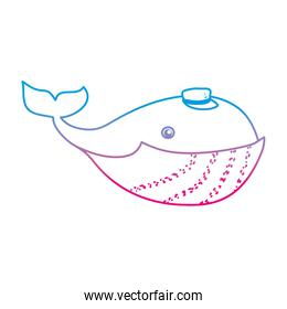 degraded line character whale cute animal with hat