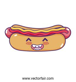 kawaii happy hot dog with sauces