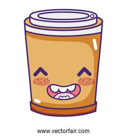 kawaii happy coffee in plastic cup