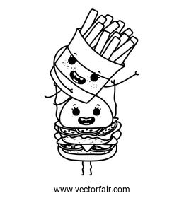 line kawaii happy fries french with hamburger