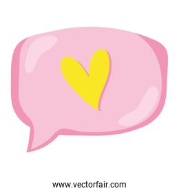 heart inside chat bubble text message