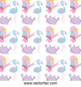 flamingo with parrot bird and crab animal background