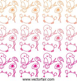 degraded line flamingo with parrot bird and crab animal background