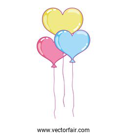 fun heart balloons flying object decoration