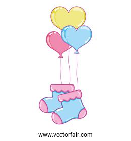 baby sock clothes with heart balloons