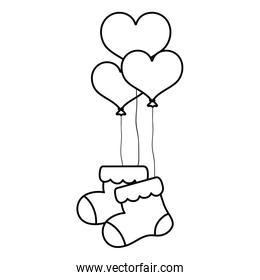 line baby sock clothes with heart balloons