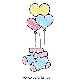 doodle baby sock clothes with heart balloons