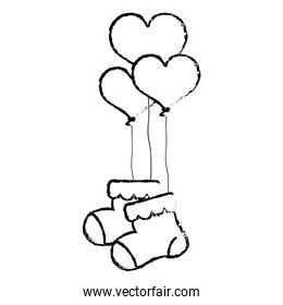 grunge baby sock clothes with heart balloons