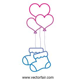 degraded line baby sock clothes with heart balloons