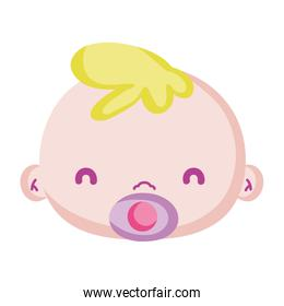 baby boy head with pacifier object