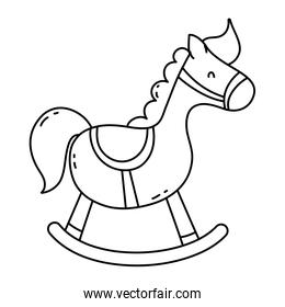 line wooden rocking horse play toy