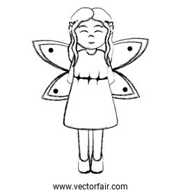 grunge happy girl with costume fairy with wings