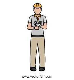 color boy golfer with sport uniform and glove