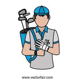 color man golf with glove and bats inside bag