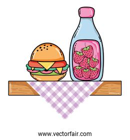 delicious hamburger with smoothie beverage in the shelf