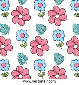 tropical flowers with nature leaves background