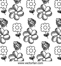 line tropical flowers with nature leaves background