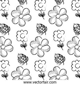grunge tropical flowers with nature leaves background