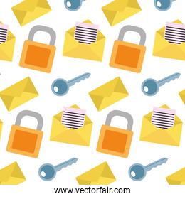 close padlock with key and letter message background