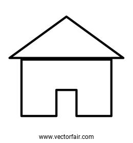 line pictogram house with roof and door architecture